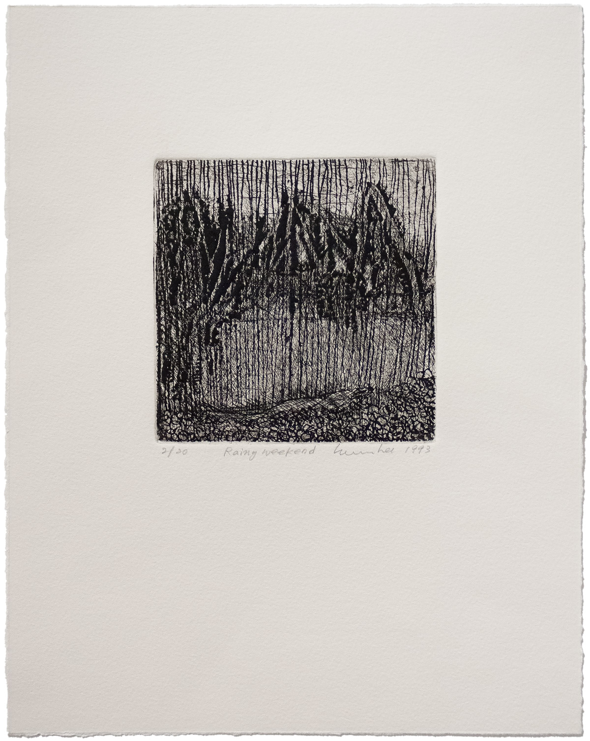 Soo Im Lee, Rainy Weekend, 1993, limited-edition etching on paper