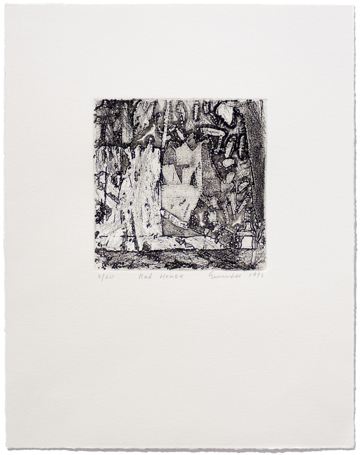 Soo Im Lee, Red House, 1993, limited-edition etching on paper