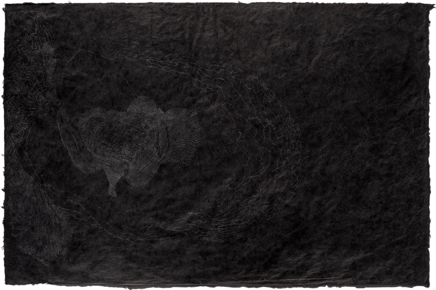 BAHAR BEHBAHANI, Transplant, from Growing Persian Garden series, 2016, graphite on Thai kozo sheet, 20 x 30 inches