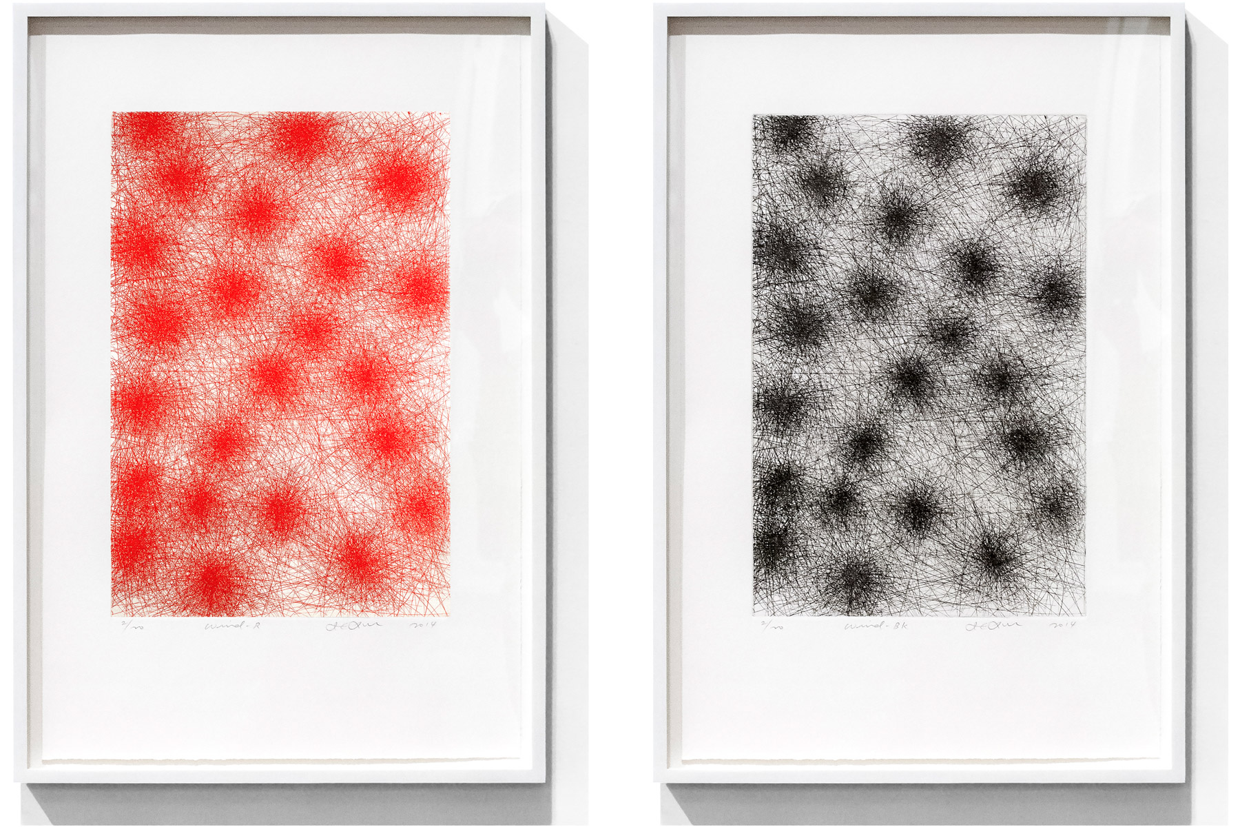 IL LEE, Wind-R and Wind-BK, 2014, etching on paper, each: 26 x 17 1/8 inches