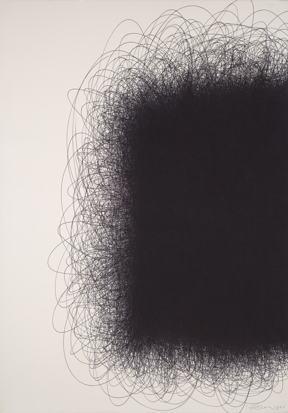 IL LEE, Untitled 967, 1996, ballpoint ink on paper,42 x 29 3/4 inches (106.7 x 75.6 cm)